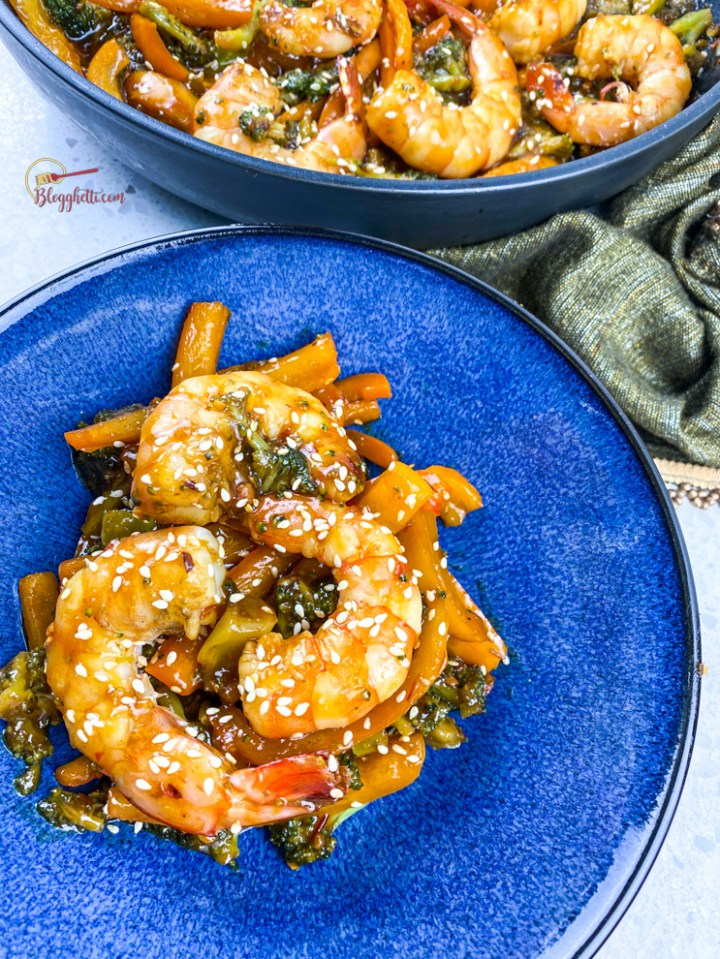 feature image of spicy honey garlic shrimp and broccoli