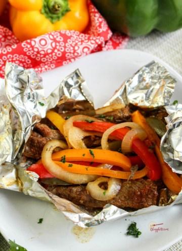 Steak Fajita Foil Packet close up on white plate