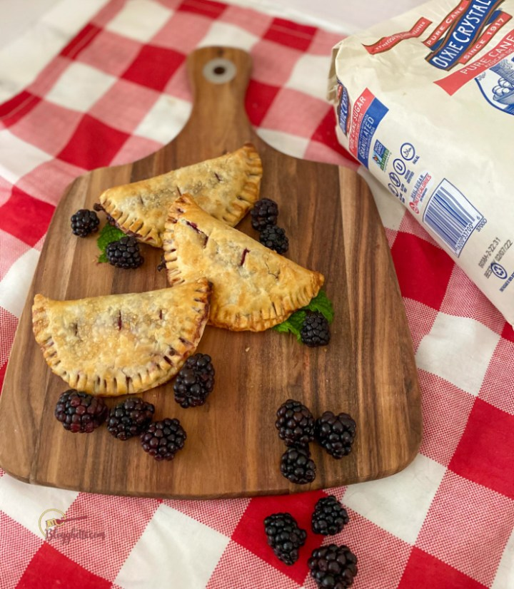 Dixie sugar package with blackberry hand pies