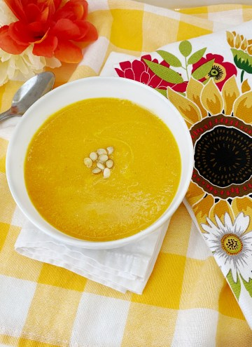 bowl filled with butternut squash soup