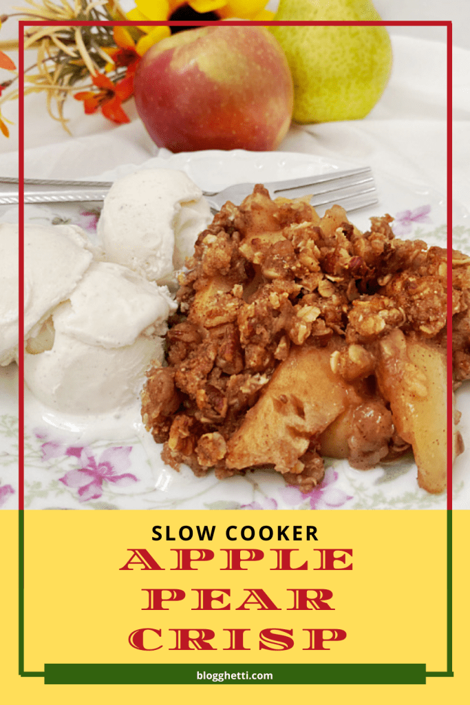 slow cooker apple pear crisp image with text overlay