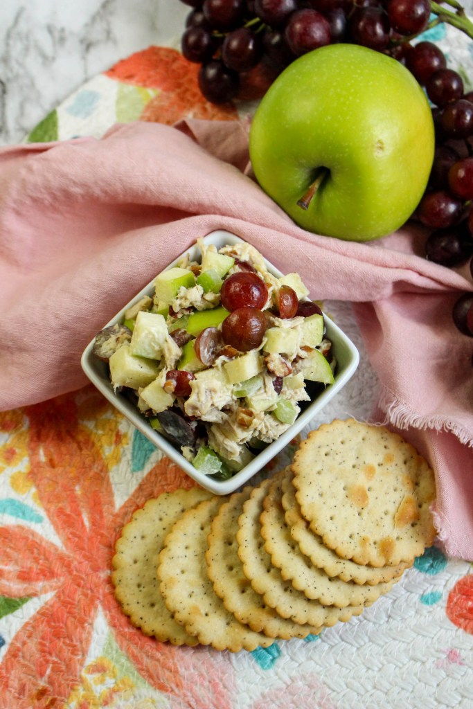 overhead shot of Chicken Salad with Grapes and Apples