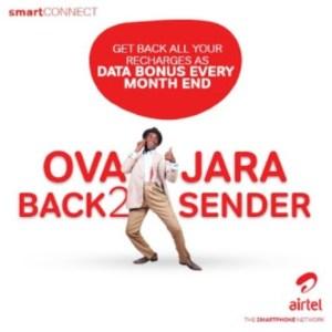 "Airtel SmartConnect 4.0 ""Overjara"" Package Offers 100% Recharge Bonus Data"