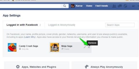 Deleting Apps/Websites on Facebook