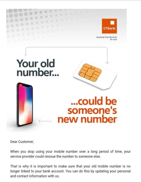 Updating your old phone number to a new one on GTBank