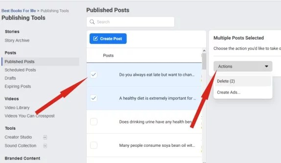 Selecting published posts on Facebook page and carrying out delete action