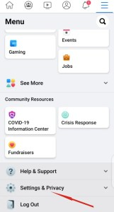 Facebook App settings and privacy