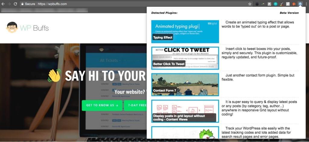 WordPress Theme und Chrome Extension Plugin Detector