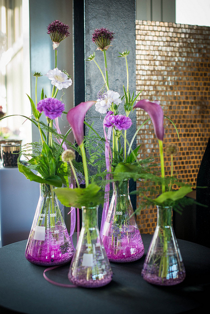 Science Home Decor Flower Vase with Erlenmeyer Flasks Purple Wedding Ideas Interior Design