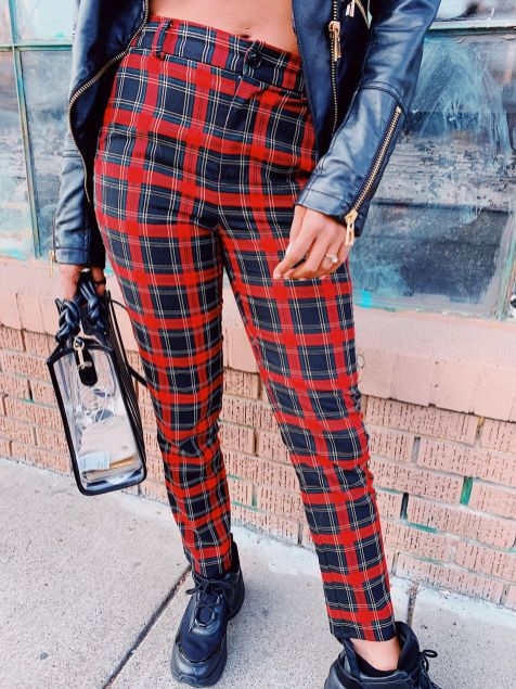 River Island flared pants in red plaid check
