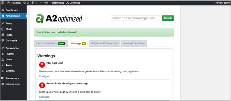 Siteground vs A2 Hosting - WordPress Dashboard