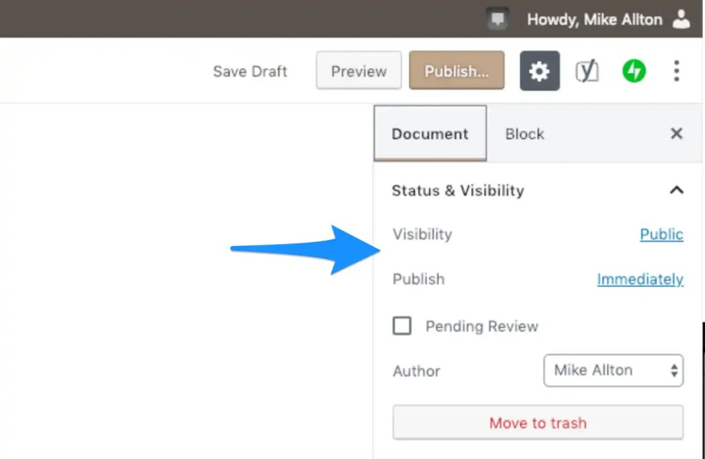Manage the status and visibility of your WordPress content.