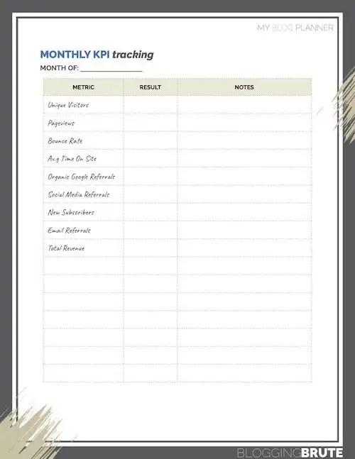 Monthly KPI Tracking