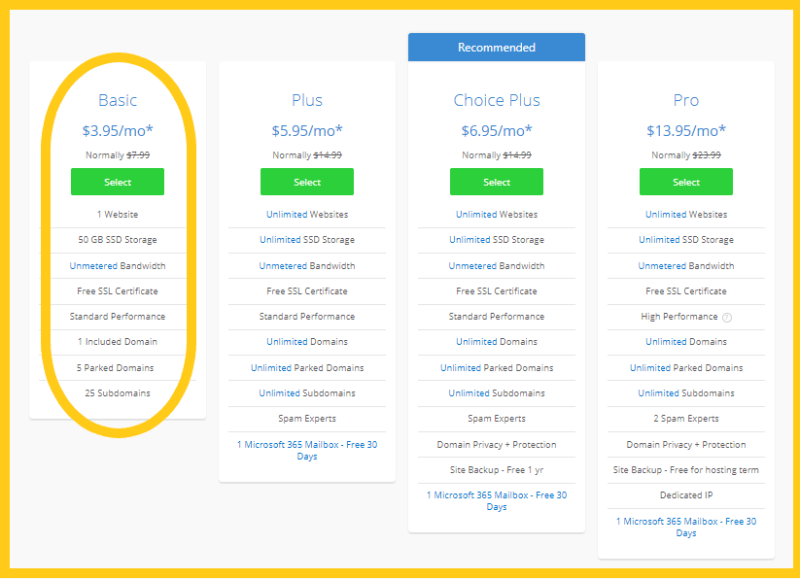 Select Bluehost plan