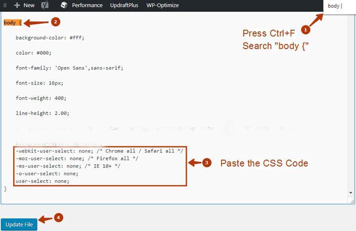 paste the css code