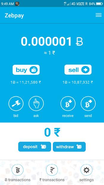 zebpay buy sell bitcoin