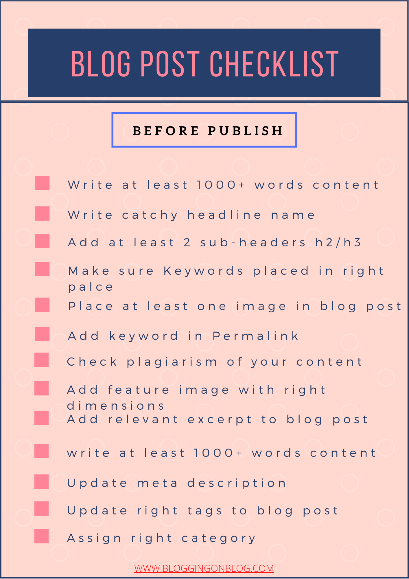 Blog post checklist to apply before publish