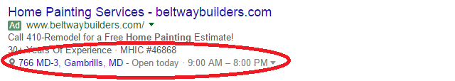 Google Adwords Location Extension