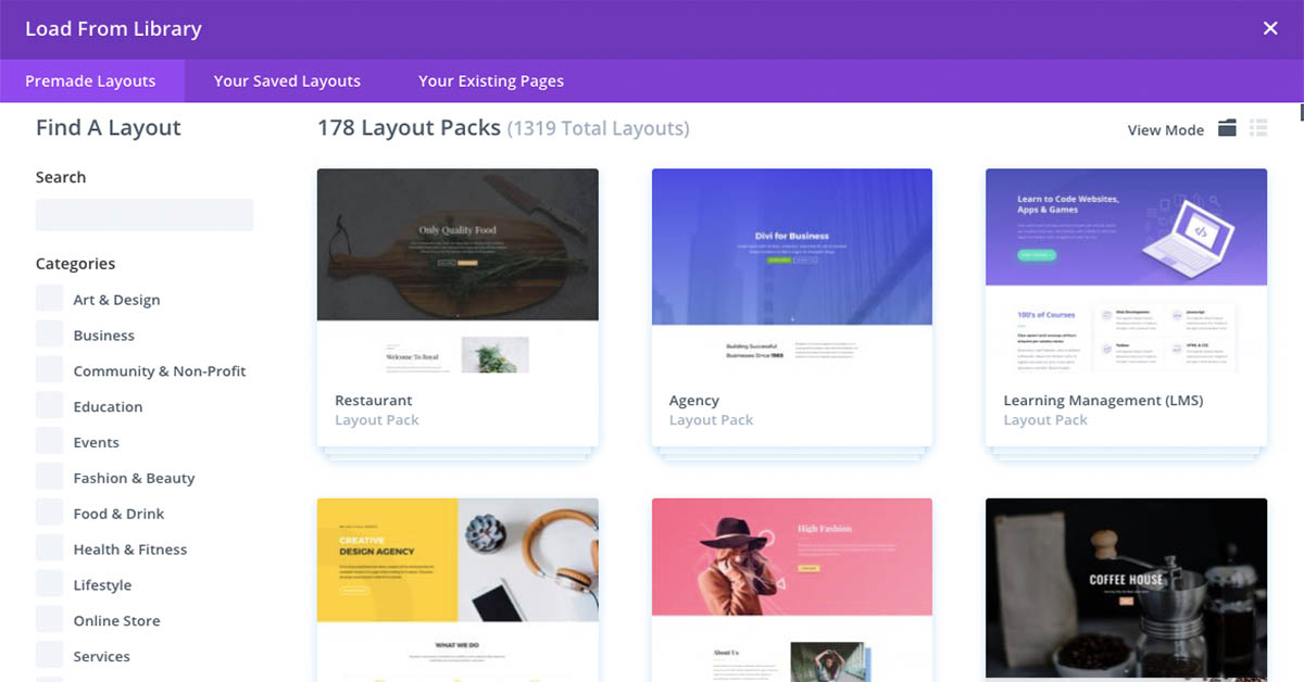 Divi Pre-Made Layout Packs