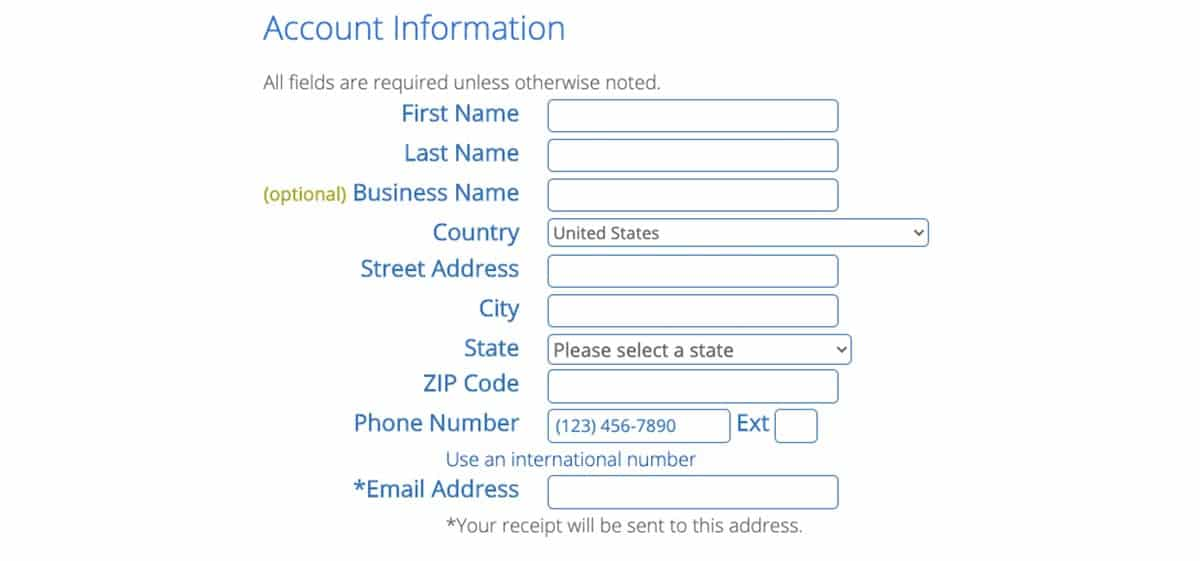 Account Info Bluehost Signup