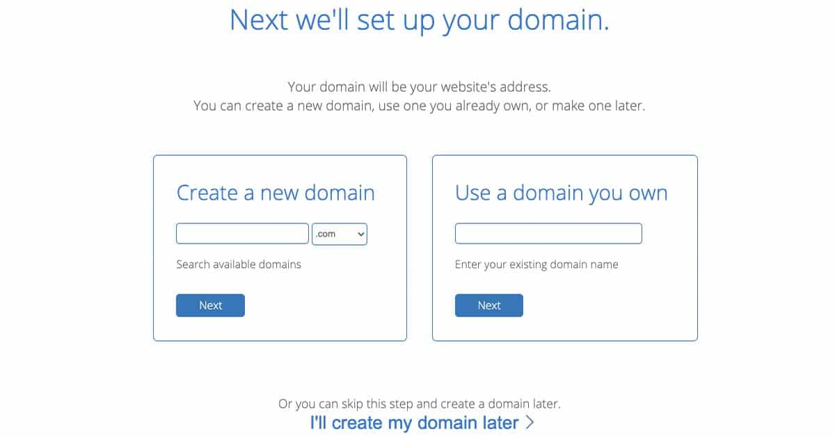 Choose Domain Bluehost Signup