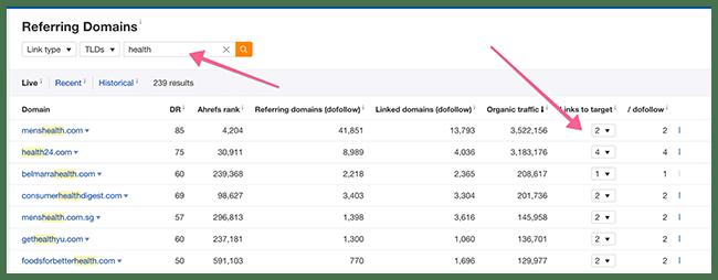 Ahrefs Search Bar Referring Domains