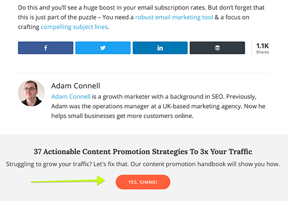 Add A CTA After Your Content
