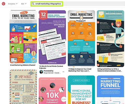 Search Pinterest for infographics