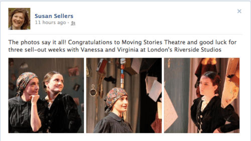 """A screen shot of Susan Sellers' Facebook post about """"Vanessa and Virginia"""""""
