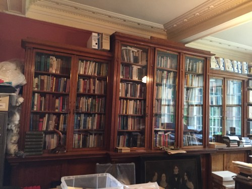 Behind-the-scenes room at the Brontë Parsonage Museum where the guestbook signed by Virginia Woolf is stored, along with other materials by and about the Brontës.