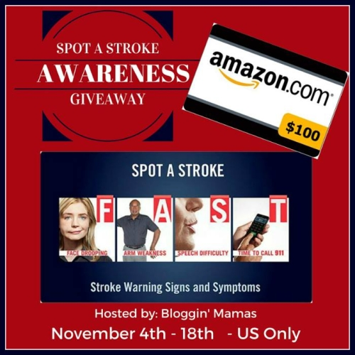 SPOT A Stroke Awareness Giveaway Ends 11-18. US 18+.