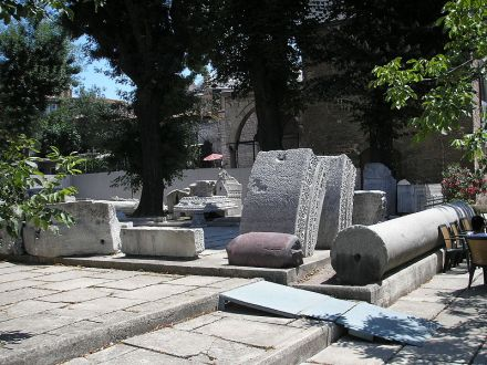 Images of the remains of the basilica that was constructed during the reign of emperor Theodosius II and stood from 415 AD. - 532 AD. Remains are exhibited next to the current Hagia Sophia.