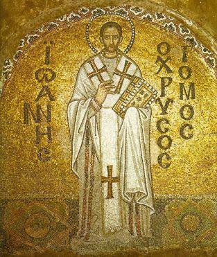 Mosaic in the northern tympanon depicting Saint John Chrysostom