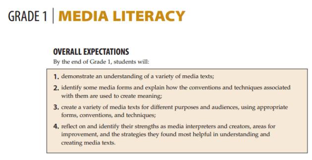 Grade 1 - Media Literacy