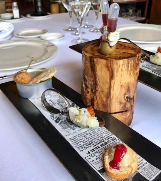 Aperitivos del menú degustación maridado con vinos