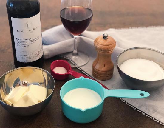 Ingredientes para la crema de caramelo al Pedro Ximénez