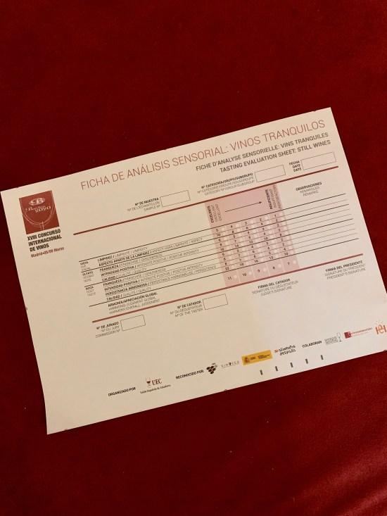 Ficha de cata de la XVIII Edición de los Premios Bacchus