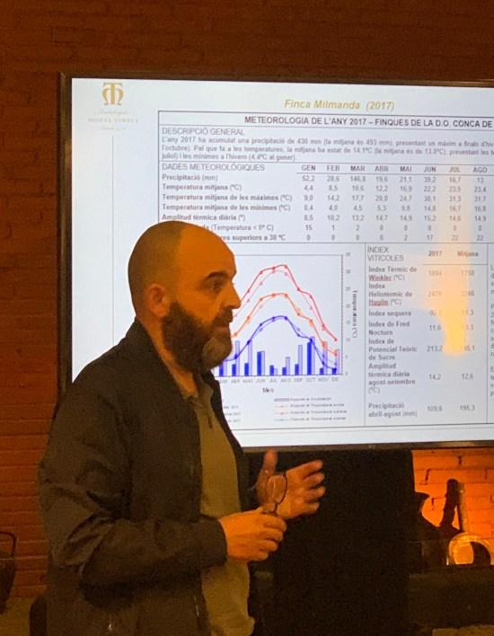 Josep Sabarich explicando las características técnicas de los vinos Antología Miguel Torres