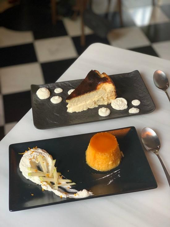 Tocinillo de cielo y tarta de queso en Bistro Mató de Pedralbes