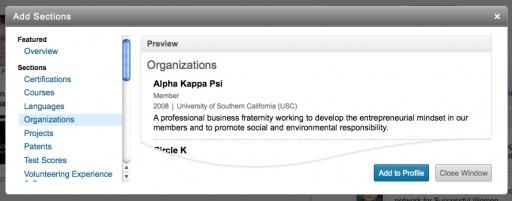 LinkedIn College Profile Section