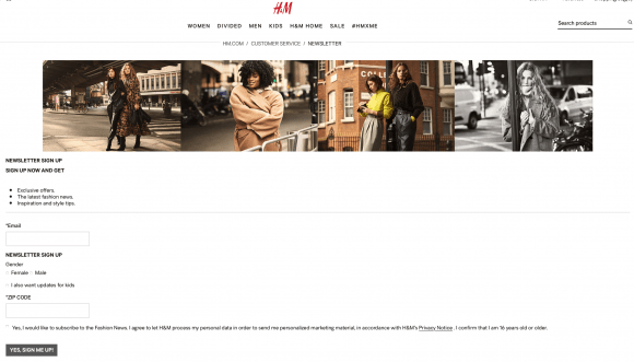 h and m homepage