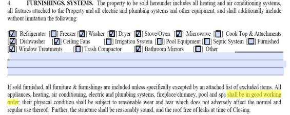 Paragraph 4 of Hilton Head Real Estate Contract