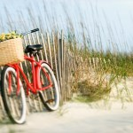 Red vintage bicycle with basket and flowers lleaning against wooden fence at beach.