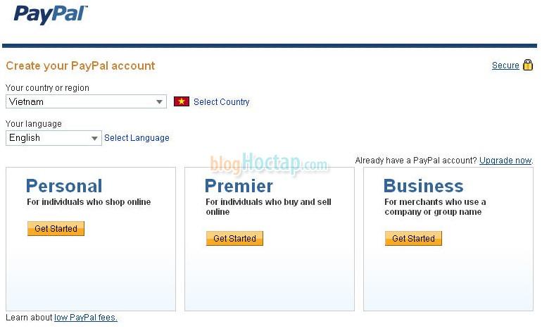 Chọn quốc gia Việt Nam và loại tài khoản bạn cần tạo. Có thể tạo Personal để mua hàng. Loại tài khoản bạn có thể thay đổi sau cũng được