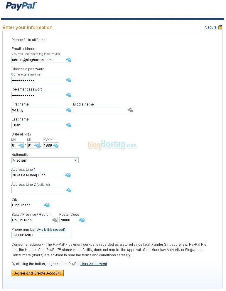 Tới bước này, bạn nhập các thông tin về tài khoản cần tạo. Sau đó nhấn nút Agree and Create Account.