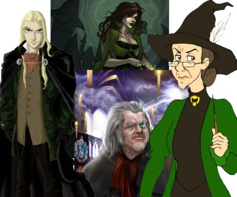 Minerva McGonagall y Alastor Moody contra Bellatrix Lestrange y Lucius Malfoy