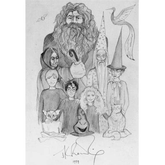 J.K Rowling dibujo de Harry y amigos 1999