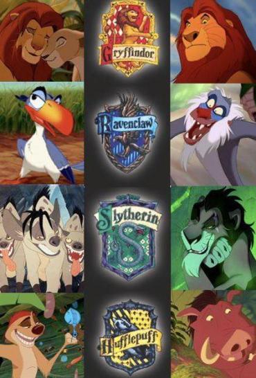 Imagen de la Semana: ¿Las Casas de Hogwarts y los Personajes de 'The Lion King'?