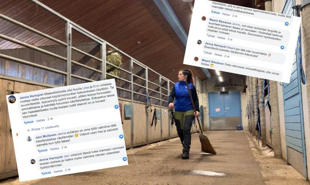 Kuva kirjoittajasta hevostallilla. Kuvaan liitetty kuvakaappauksia facebook-keskusteluista.