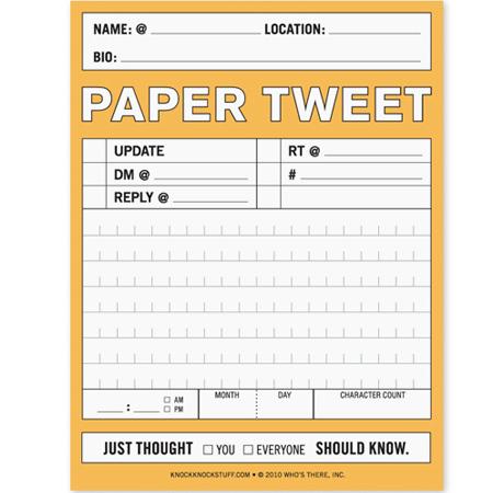 PAPER TWEET NIFTY NOTE